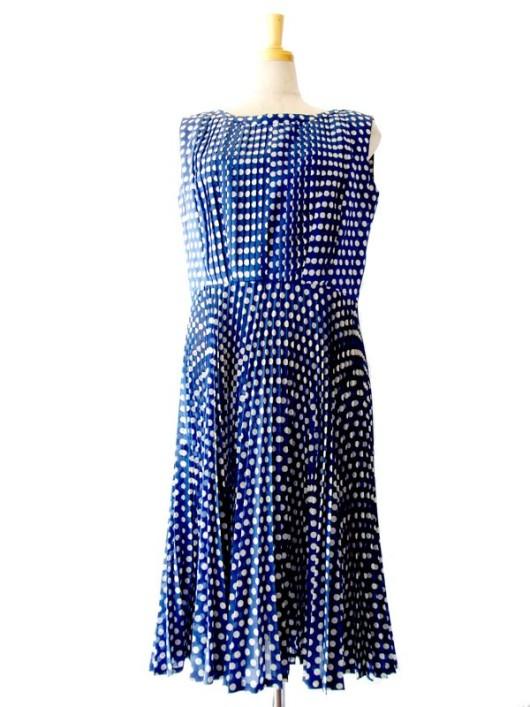 【ヨーロッパ古着】フランス買い付け ブルー X ホワイト水玉 プリーツ ヴィンテージ ワンピース : 13FC220【送料無料】