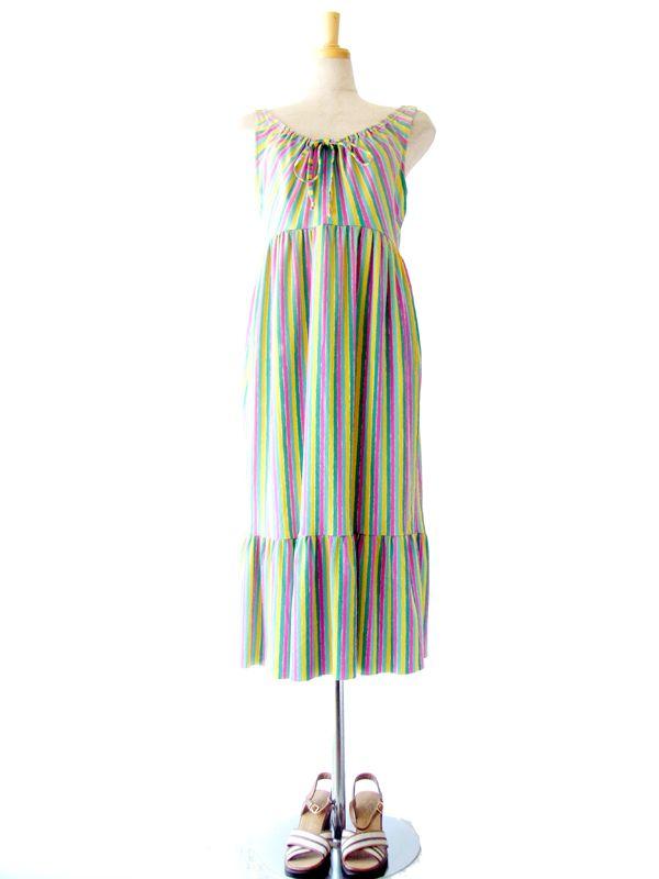 キュートなパステルカラーのストライプが夏気分♪フランス買い付けストラップドレス