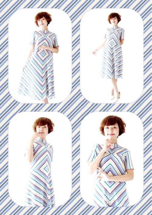 フランス買い付け ホワイト X ブルー・パープル オプアートパターン 60年代製 ワンピース 13FC508