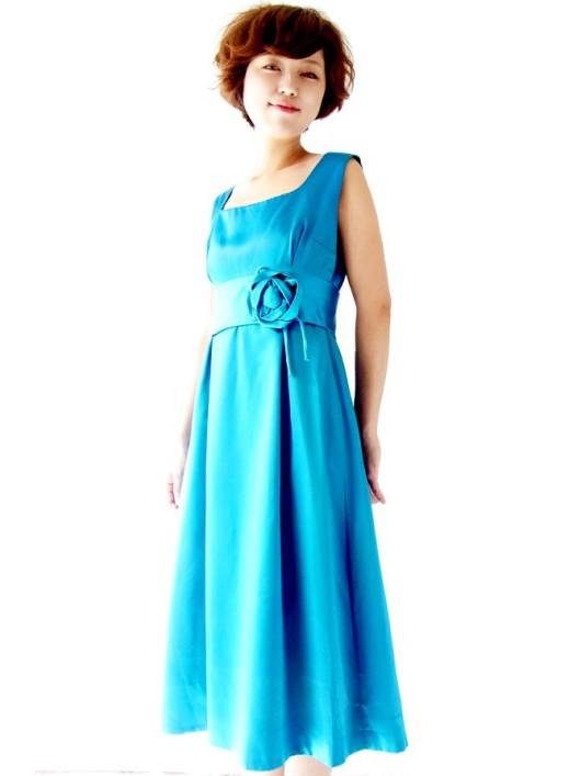 フランス買い付け ターコイズブルー X 薔薇コサージュ ヴィンテージ ドレス : 13FC511