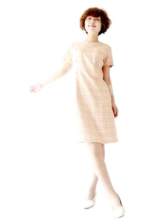 【送料無料】フランス買い付け ピンク・ X ゴールド・グレイ・ホワイト チェック柄 ワンピース : 13FC513【ヨーロッパ古着】