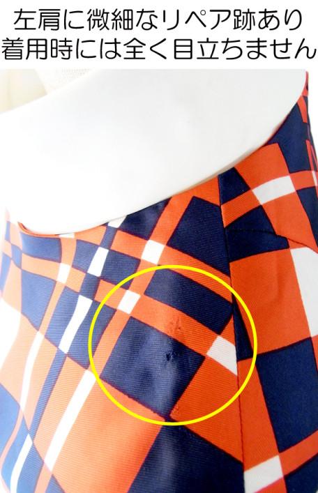 【送料無料】フランス買い付け 60年代製 トリコロール X チェック柄 スカーフカラー ワンピース : 13FC724【ヨーロッパ古着】
