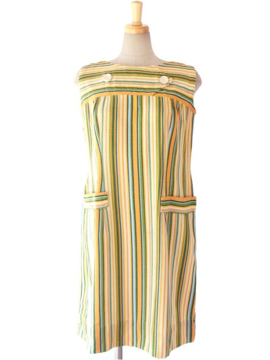 【送料無料】フランス買い付け 60年代製 オレンジ・水色・グリーン ストライプ 飾りボタン レトロ ワンピース 15FC104【ヨーロッパ古着】