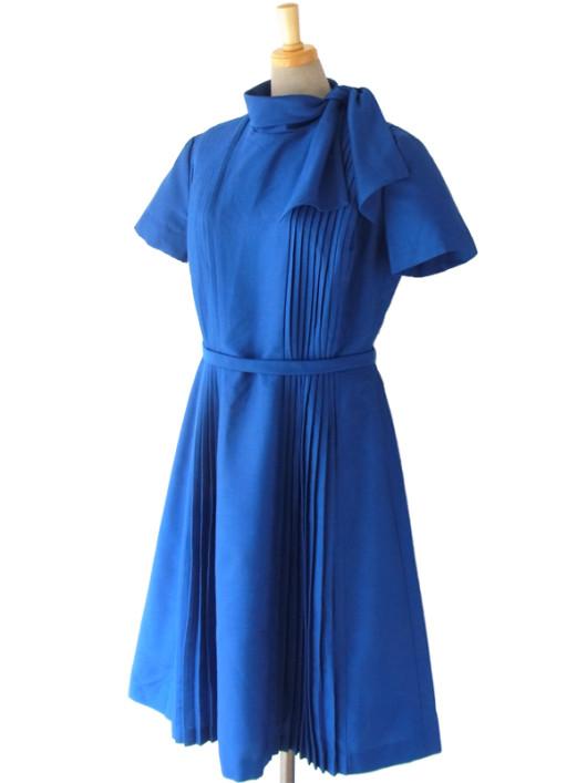 【送料無料】ロンドン買い付け 60年代製 ロイヤルブルー X スカーフカラー プリーツ ワンピース 15BS210【ヨーロッパ古着】
