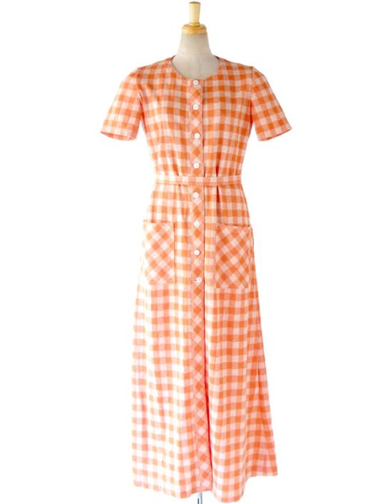 【送料無料】ロンドン買い付け 60年代製 オレンジ X ホワイト ブロックチェック 共布ベルト付き マキシワンピース 15OM406【ヨーロッパ古着】