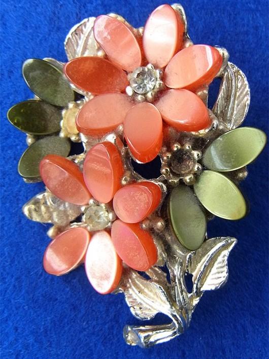 【アクセサリー】ロンドン買い付け ピンク X ゴールド ラインストーン 花柄 アンティーク ブローチ09UK1025【ヨーロッパ古着】