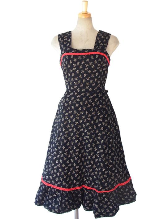 【送料無料】ロンドン買い付け 60年代製 ブラック X イエロー小花柄 レッド テープ飾り ヴィンテージ ワンピース 16BS015【ヨーロッパ古着】