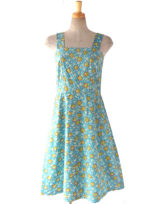 【ヨーロッパ古着】ロンドン買い付け 60年代製 水色 X オレンジ・グリーン 花柄 ヴィンテージ ワンピース 16BS017【おとなかわいい】