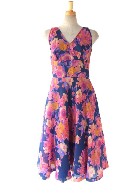 【送料無料】ロンドン買い付け 60年代製 ブルー X ピンクを基調としたカラフルな花柄 ヴィンテージ ワンピース 16BS020【ヨーロッパ古着】