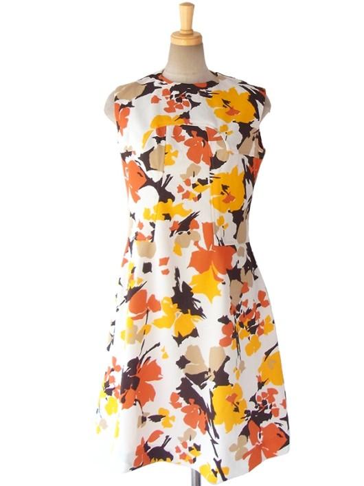 【送料無料】ロンドン買い付け 60年代製 ホワイト X イエロー・オレンジ・ブラウン お花モチーフのレトロプリント ワンピース 16OM127【ヨーロッパ古着】