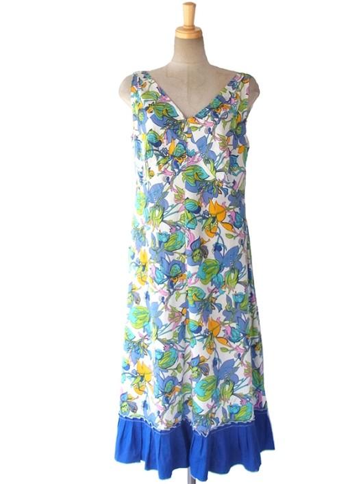 【送料無料】ロンドン買い付け 60年代製 ホワイト X カラフルな花柄 裾元ブルー レトロ ワンピース 16OM134【ヨーロッパ古着】
