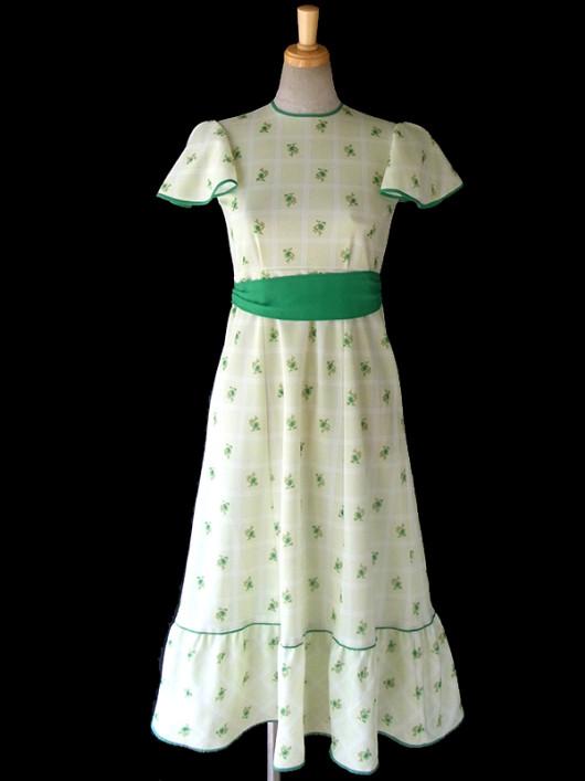 【送料無料】ロンドン買い付け 60年代製 若草色 X チェック・花柄 布ベルト付き ベルスリーブ ワンピース 16OM144【ヨーロッパ古着】