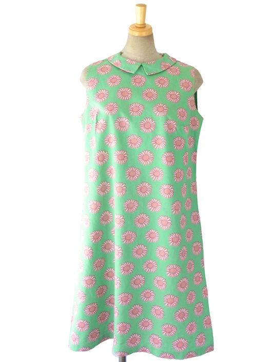 【送料無料】ロンドン買い付け 60年代製 パステルグリーン X ピンク花柄 レトロワンピース 16OM321【ヨーロッパ古着】