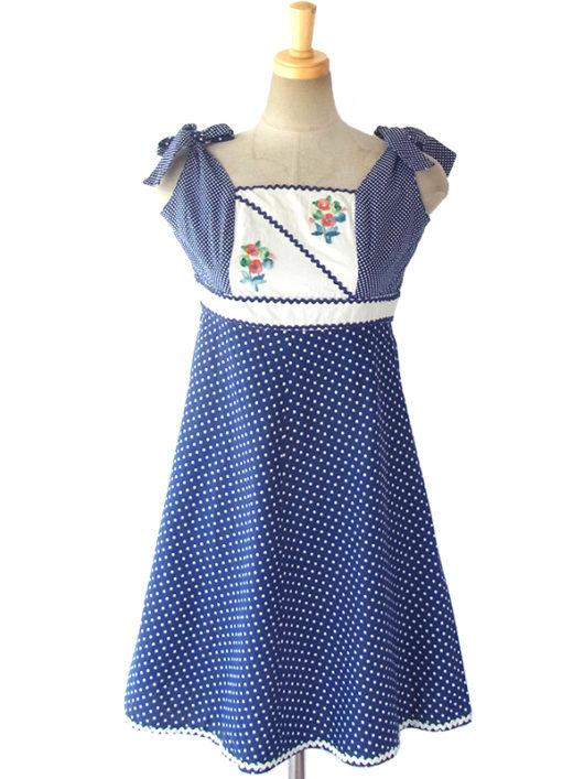 【送料無料】ロンドン買い付け 60年代製 ブルー X ホワイト 花柄刺繍 山道テープ 肩ひも結び ワンピース 16OM325【ヨーロッパ古着】