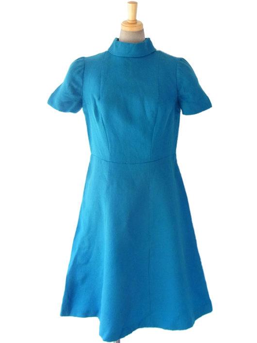 【送料無料】ロンドン買い付け 60年代製 ターコイズブルー X ロールカラー ヴィンテージ ウール ワンピース 16OM327【ヨーロッパ古着】