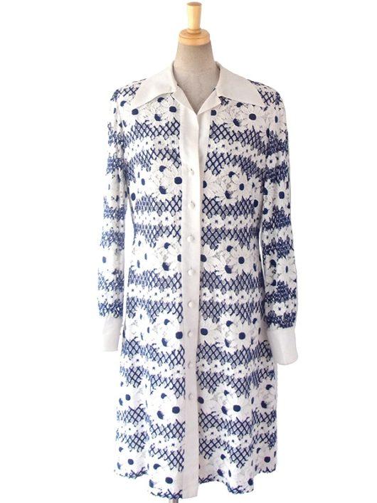 【送料無料】フランス買い付け 60年代製 ホワイト X ネイビー 総刺繍 マガーレット柄刺繍 ヴィンテージ ワンピース 16FC325【ヨーロッパ古着】