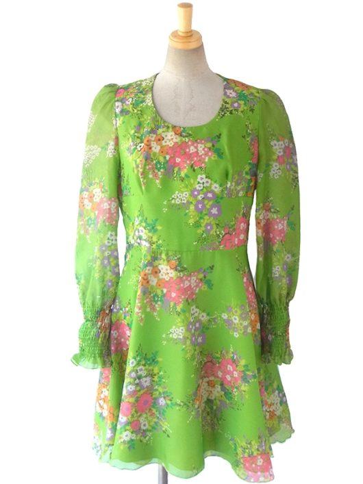 【送料無料】ロンドン買い付け 60年代製 Betty Barclay グリーン X カラフル花柄 袖口シャーリング ワンピース 16OM416【ヨーロッパ古着】