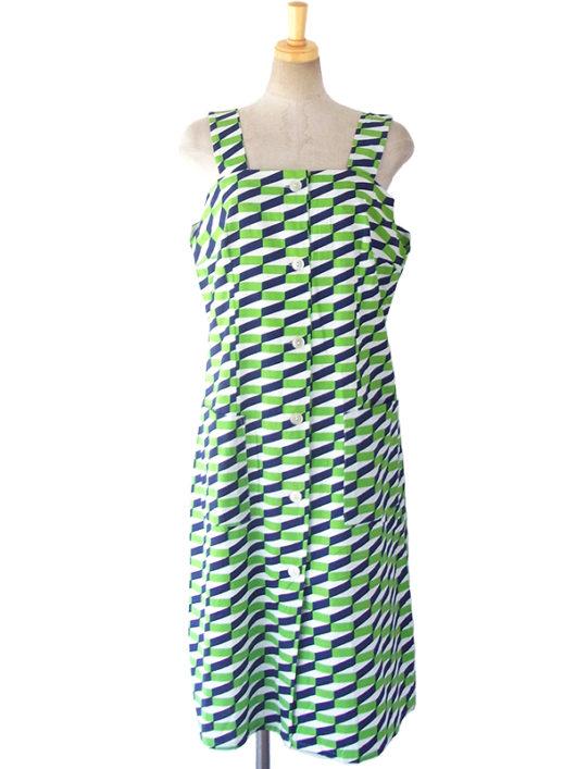 【送料無料】ロンドン買い付け 60年代製 ホワイト ・グリーン ・ブルー 幾何学模様 ストラップ ワンピース 16OM418【ヨーロッパ古着】
