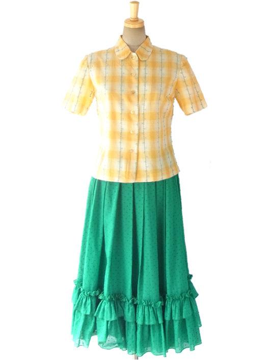 【ヨーロッパ古着】ロンドン買い付け 60年代製 レモン色 チェック柄 X 水色・グリーンの花柄刺繍 ブラウス 11BS078【おとなかわいい】