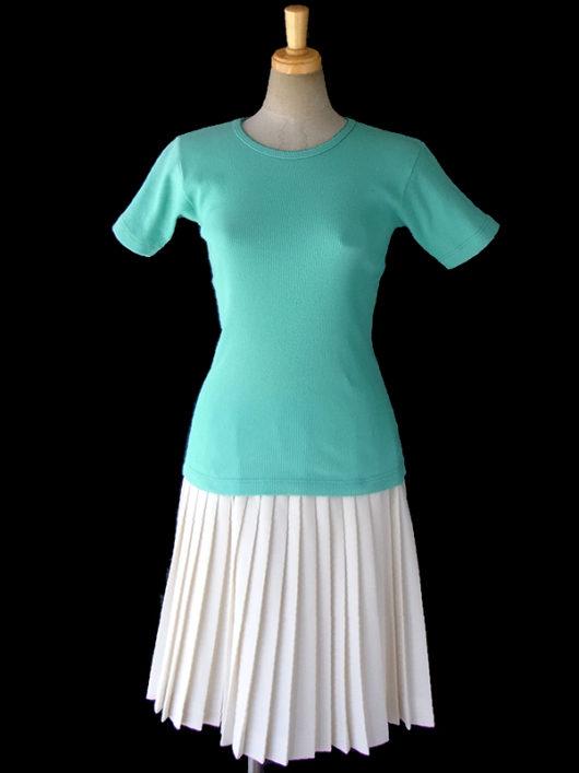 【ヨーロッパ古着】フランス買い付け 60年代製 アイボリー X プリーツ スカート 12FC312【レトロ】