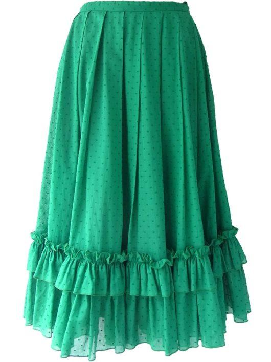 【ヨーロッパ古着】ロンドン買い付け グリーン X 水玉刺繍 裾元ギャザーフリル プリーツ スカート 16BS227【レトロ】