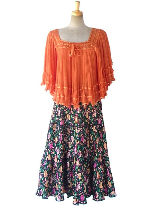 【ヨーロッパ古着】ロンドン買い付け ブラック X カラフル花柄 プリーツ スカート 16BS228【レトロ】