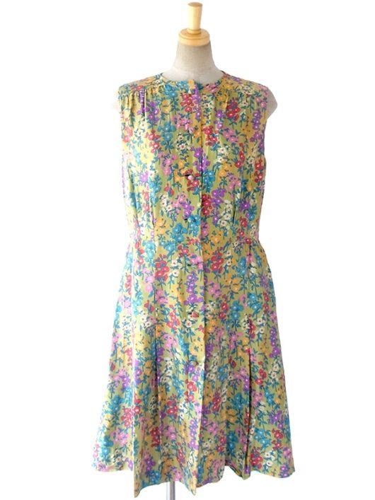 【送料無料】ロンドン買い付け 60年代製 グリーンゴールド X 花柄 裾元プリーツ ヴィンテージ ワンピース 16OM508【ヨーロッパ古着】