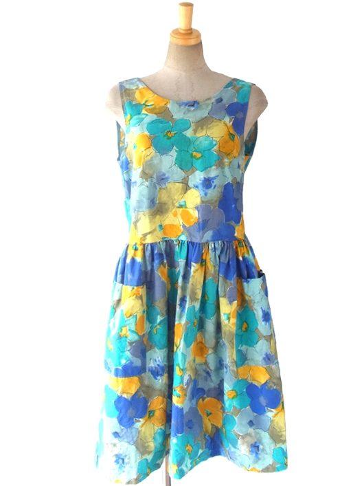 【送料無料】ロンドン買い付け ブルーを基調とした水彩画風花柄 背面ボタン開き サマーワンピース 16OM511【ヨーロッパ古着】