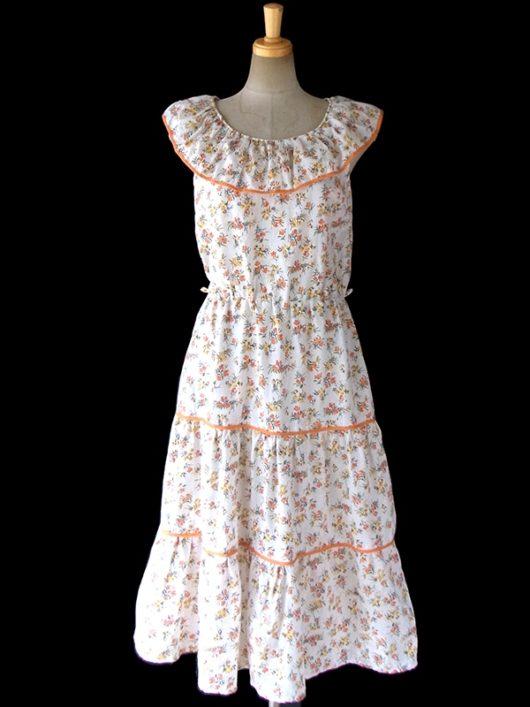 【送料無料】ロンドン買い付け ホワイト X オレンジの縁取り クラシックな花柄プリントサマーワンピース 16OM515【ヨーロッパ古着】