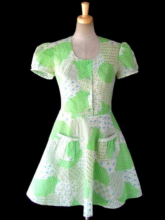 【送料無料】ロンドン買い付け グリーンを基調としたクレイジーパターン パフスリーブ レトロ ワンピース 16OM516【ヨーロッパ古着】