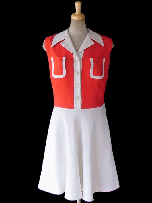 【送料無料】ロンドン買い付け 60年代製 レッド X ホワイト バイカラー かわいい胸ポケット レトロ ワンピース 16OM530【ヨーロッパ古着】