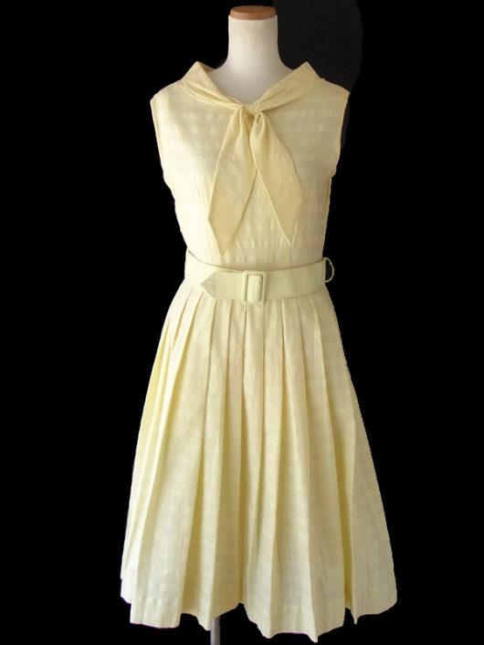 【送料無料】ロンドン買い付け 60年代製 レモン色 共布ベルト付き ボウタイ ワンピース 16OM533【ヨーロッパ古着】