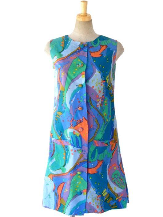【ヨーロッパ古着】ロンドン買い付け ブルーを基調とした絵の具のようなレトロ柄 裾元ボックスプリーツ ワンピース 5LA811【おとなかわいい】