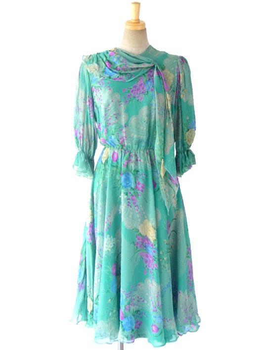 【送料無料】ロンドン買い付け エメラルドグリーン X カラフル花柄 襟元スカーフ シフォン生地 ワンピース 16OM629【ヨーロッパ古着】