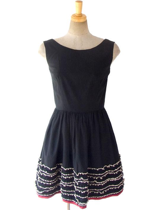【送料無料】ロンドン買い付け ブラック X レッド・ベージュ裾元テープ飾り ヴィンテージ ワンピース 5LA554【ヨーロッパ古着】