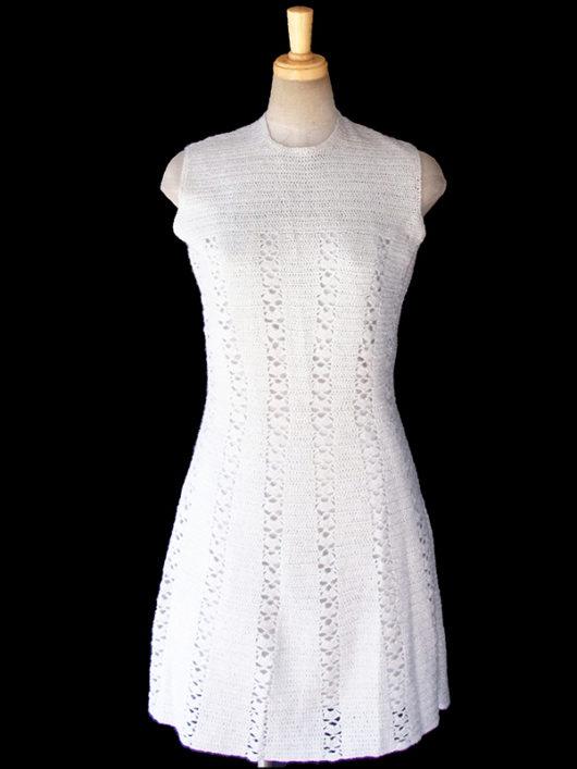 フランス買い付け60年代製 ホワイト X シルバーラメ糸 ヴィンテージ ウールワンピース 16FC416