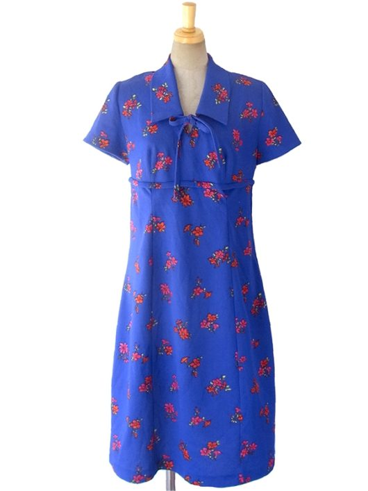 【送料無料】ロンドン買い付け 70年代製 ブルー X 花柄 リボン紐 レトロワンピース 16OM722【ヨーロッパ古着】