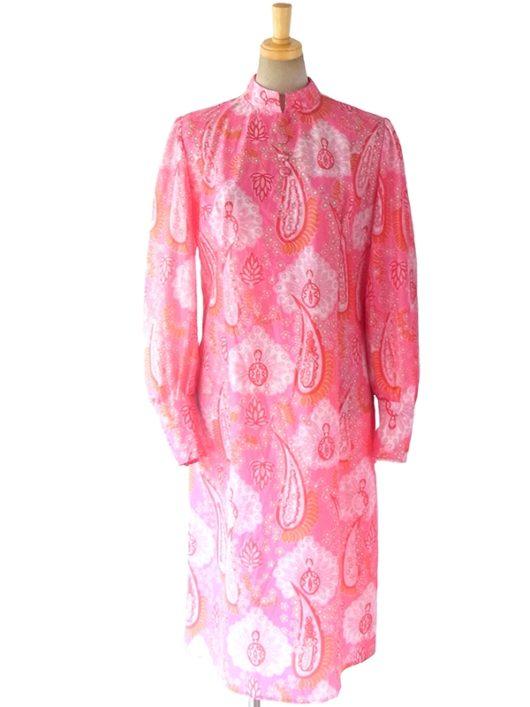 【送料無料】ロンドン買い付け 70年代製 ピンク X ペイズリー柄 レトロサイケ ワンピース 16OM726【ヨーロッパ古着】