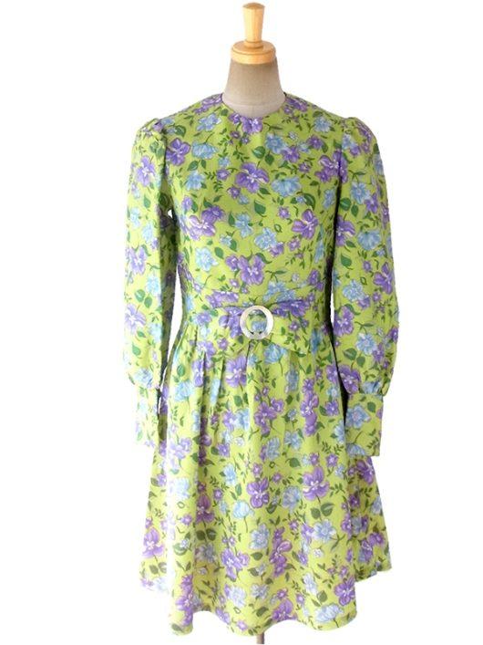 【送料無料】ロンドン買い付け グリーン X パープル・水色 花柄プリント リボン付き レトロ ワンピース 16OM740【ヨーロッパ古着】