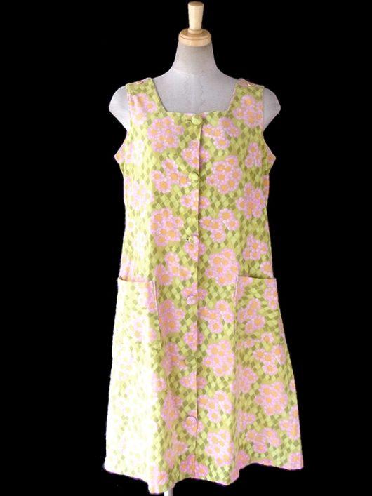 【ヨーロッパ古着】ロンドン買い付け 60年代製 ライムグリーン X カラフル 花柄・アーガイル ワンピース 16OM748【おとなかわいい】