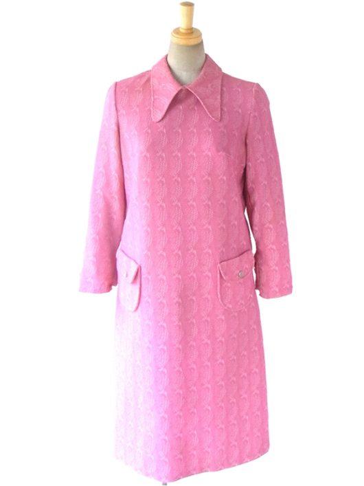 【送料無料】ロンドン買い付け 60年代製 ピンクX ホワイト レトロ柄刺繍 ワンピース 16BS309【ヨーロッパ古着】