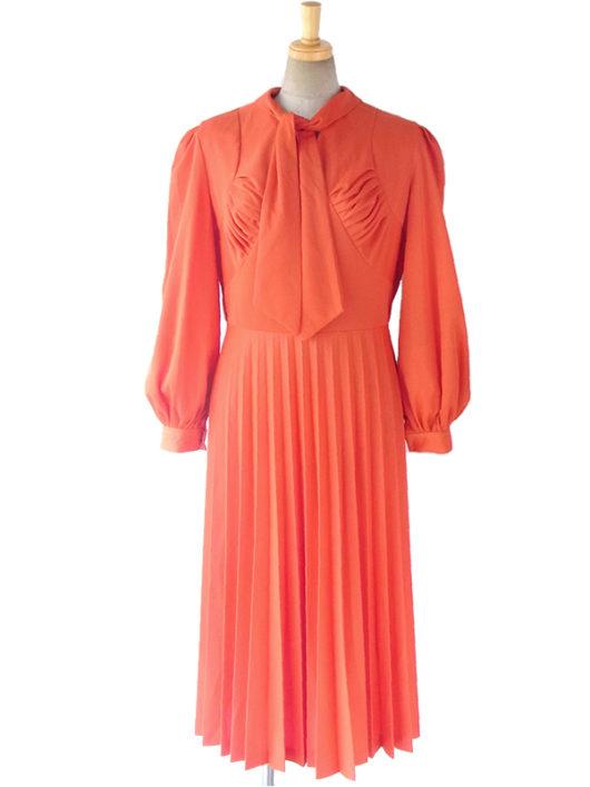 【送料無料】ロンドン買い付け 70年代製 オレンジ X ボウタイ アンブレラプリーツ ワンピース 16BS312【ヨーロッパ古着】