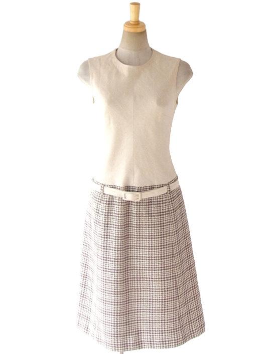 【送料無料】ロンドン買い付け 60年代製 アイボリー X ブラウン 千鳥格子スカート 共布ベルト付き ワンピース 16BS313【ヨーロッパ古着】