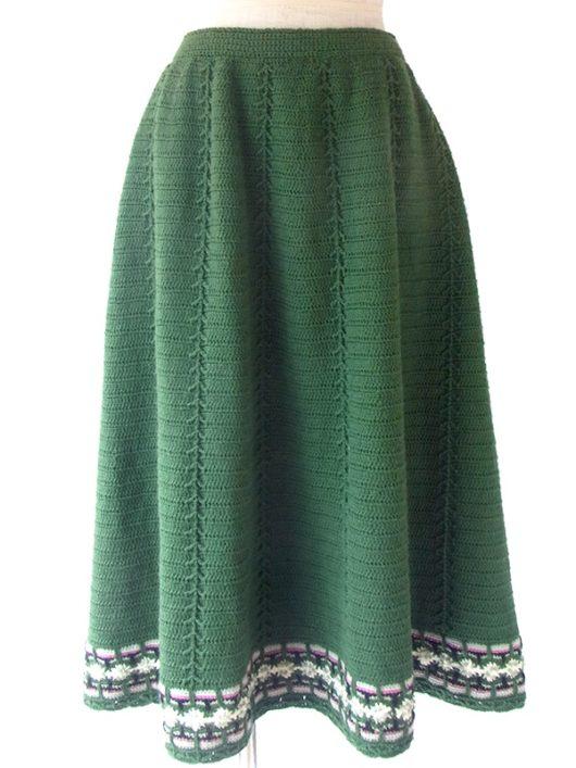 【ヨーロッパ古着】ロンドン買い付け きれいなグリーン X 裾元花柄ライン リブ編み ウールニット スカート 16BS335【おとなかわいい】