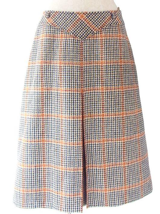 【ヨーロッパ古着】ロンドン買い付け 60年代製 カラフルなチェック柄 厚手ウール ツイード スカート 16BS336【エレガント】