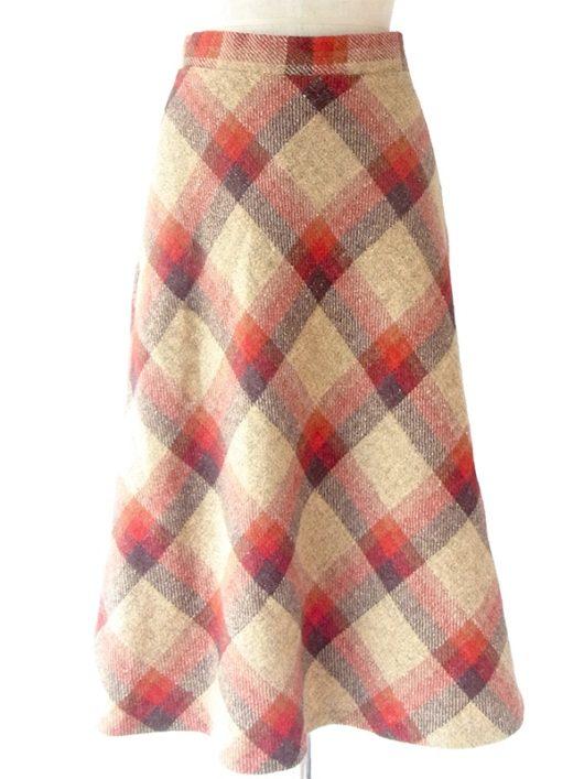 【ヨーロッパ古着】ロンドン買い付け ライトベージュ X レッド・ブラウン チェック柄 ヴィンテージ スカート 16BS337【おとなかわいい】