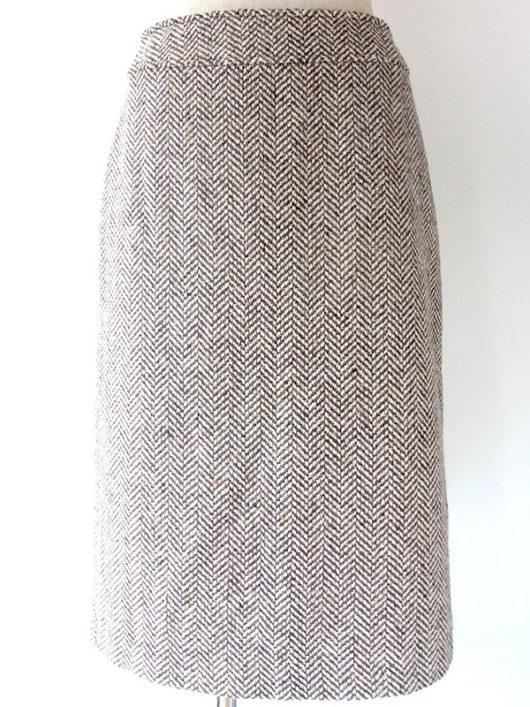 【ヨーロッパ古着】フランス製 ライトグレイ X ブラウン ツイード スカート 16BS343【エレガント】