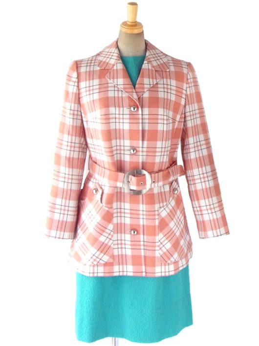 【送料無料】西ドイツ製 ピンク X ブラウン・ホワイト チェック柄 共布ベルト付き ジャケット コート 16BS346【ヨーロッパ古着】