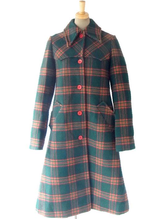 ヨーロッパ古着 60年代製 モスグリーン・ブラウン・レッド チェック柄 クラシックなかわいらしさのウールコート 16FC500