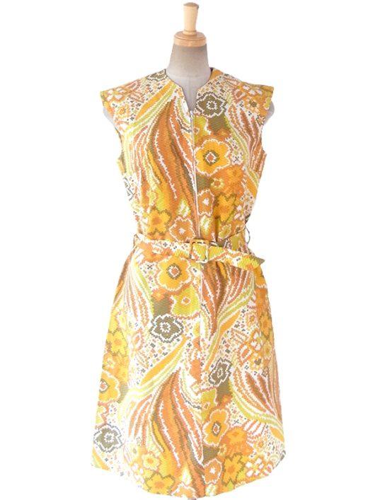 【送料無料】ロンドン買い付け 60年代製 イエロートーンの花柄 X ハニカム型に凹凸のある生地 ワンピース 16OM909【ヨーロッパ古着】